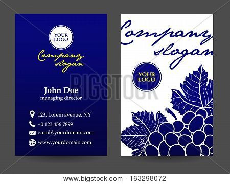 vector blue business card with grape front and back
