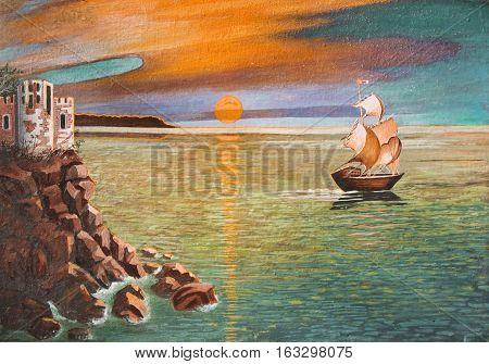 Sea landscape with sailing ship and castle on rocks, sunset.