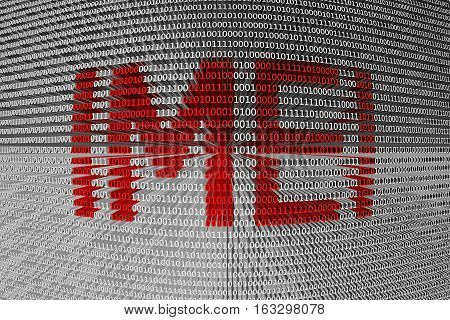 IMEI provided in the form of binary code 3d illustration