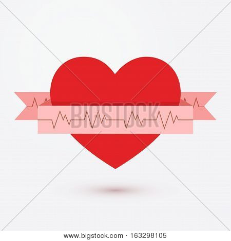 Red simple heart with ribbon heart rhythm, electrocardiogram web icon isolated on white background vector illustration. Cardiogram symbol