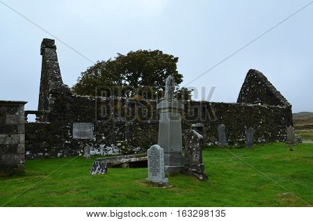 Dunvegan ruins at a burial ground on the Isle of Skye.