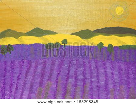 Landscape with lavender field and yellow hills, oil painting.