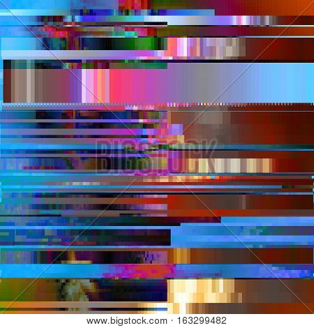 Glitched abstract vector background made of colorful pixel mosaic. Digital decay, signal error, television signal fail. Colorful trendy design for print poster, brochure cover, website and other design projects. poster