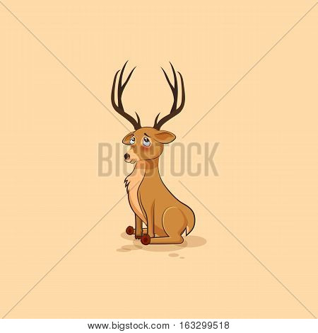 Vector Stock Illustration isolated emoji character cartoon deer embarrassed, shy and blushes sticker emoticon for site, info graphics, video, animation, websites, mail, newsletters, reports