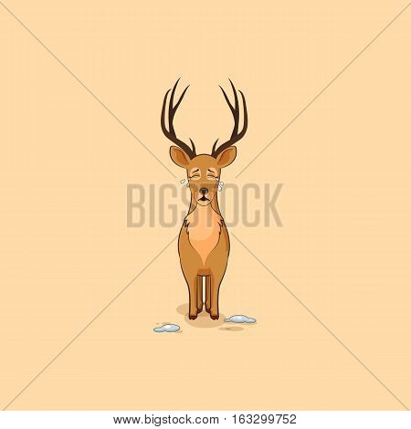 Vector Stock Illustration isolated emoji character cartoon deer crying, lot of tears sticker emoticon for site, info graphics, video, animation, websites, e-mails, newsletters, reports, comics