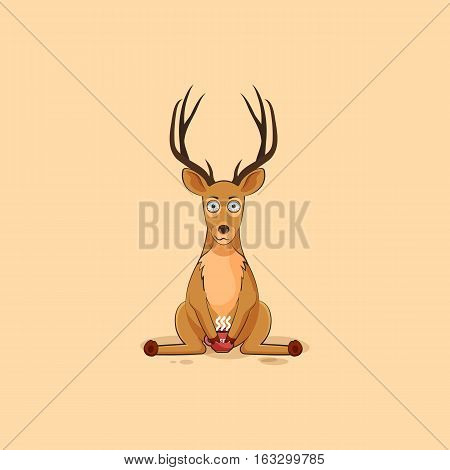 Vector Stock Illustration isolated emoji character cartoon deer nervous with cup of coffee sticker emoticon for site, info graphics, video, animation, website, mail, newsletter, report, comics