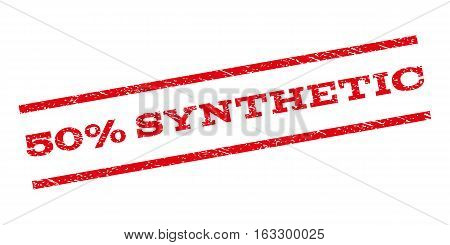 50 Percent Synthetic watermark stamp. Text caption between parallel lines with grunge design style. Rubber seal stamp with dirty texture. Vector red color ink imprint on a white background.