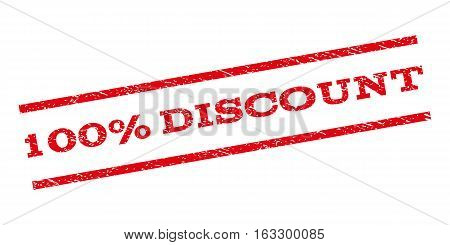 100 Percent Discount watermark stamp. Text tag between parallel lines with grunge design style. Rubber seal stamp with dust texture. Vector red color ink imprint on a white background.