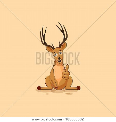 Vector Stock Illustration isolated emoji character cartoon deer approves with thumb up sticker emoticon for site, info graphics, video, animation, websites, mails, newsletters, reports