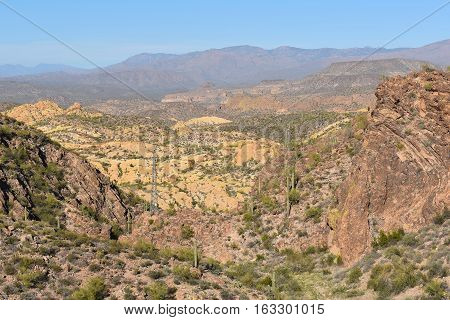 Horizontal landscape of the Tonto National Forest in the Sonoran Desert of Arizona.