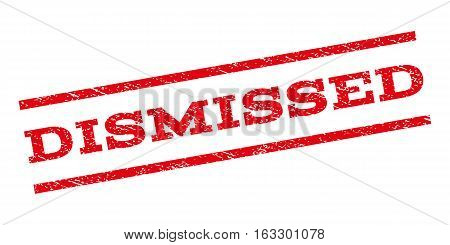 Dismissed watermark stamp. Text tag between parallel lines with grunge design style. Rubber seal stamp with dirty texture. Vector red color ink imprint on a white background.