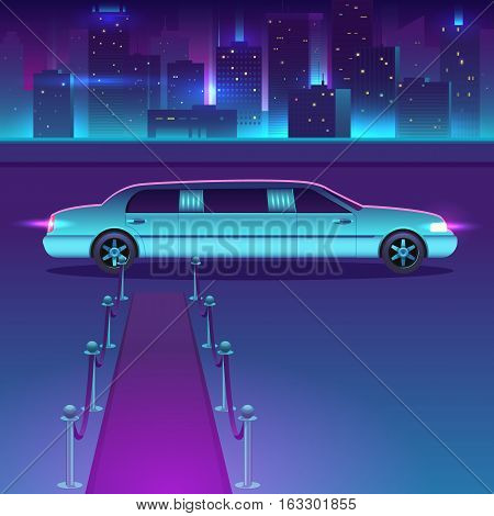 Limousine with a red carpet at night vector in front of city urban, luxury metropolis concept. Vip car and City reflected in the river. View of the embankment. Night city background