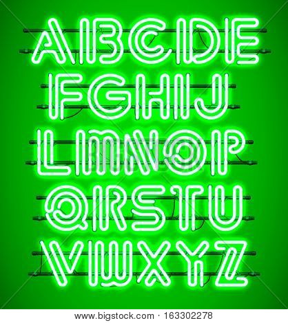 Glowing green Neon Alphabet with letters from A to Z. Shining and glowing neon effect. Every letter is separate unit with wires tubes brackets and holders.