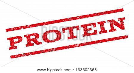 Protein watermark stamp. Text caption between parallel lines with grunge design style. Rubber seal stamp with unclean texture. Vector red color ink imprint on a white background.