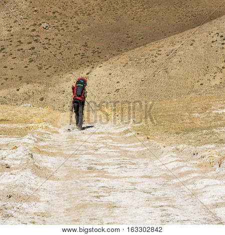 Lonely trekker crossing arid wasteland. Annapurna circuit trek in Nepal.