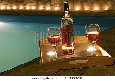 Bottle Of Wine At Poolside