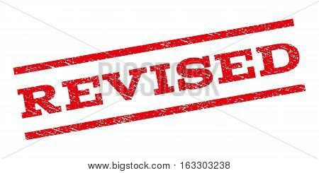 Revised watermark stamp. Text caption between parallel lines with grunge design style. Rubber seal stamp with unclean texture. Vector red color ink imprint on a white background.