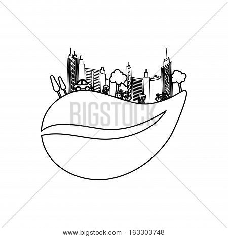 Eco green city icon vector illustration graphic design