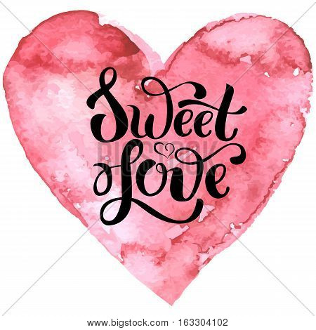Hand drawn pink heart with decorative lettering theme Valentine s day