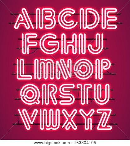 Glowing red Neon Alphabet with letters from A to Z. Shining and glowing neon effect. Every letter is separate unit with wires tubes brackets and holders.