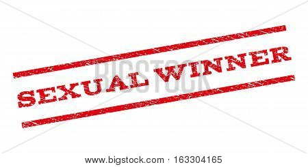 Sexual Winner watermark stamp. Text tag between parallel lines with grunge design style. Rubber seal stamp with unclean texture. Vector red color ink imprint on a white background.
