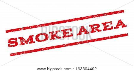 Smoke Area watermark stamp. Text tag between parallel lines with grunge design style. Rubber seal stamp with unclean texture. Vector red color ink imprint on a white background.