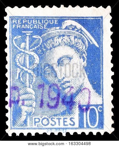 FRANCE - CIRCA 1938 : Cancelled postage stamp printed by France, that shows Mercury.