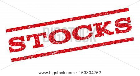 Stocks watermark stamp. Text caption between parallel lines with grunge design style. Rubber seal stamp with scratched texture. Vector red color ink imprint on a white background.