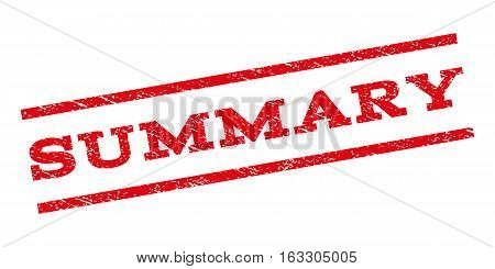 Summary watermark stamp. Text tag between parallel lines with grunge design style. Rubber seal stamp with dirty texture. Vector red color ink imprint on a white background.