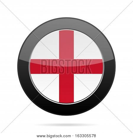 National flag of England. Shiny black round button with shadow.