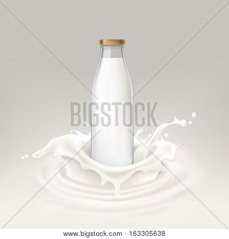 Vector illustration of bottle full of milk on a background of splashing milk