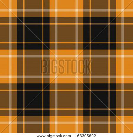 seamless illustration - orange black tartan with squares and white stripes