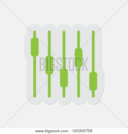 simple green icon with light gray contour and shadow - mixing console equalizer symbol on a white background
