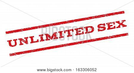 Unlimited Sex watermark stamp. Text caption between parallel lines with grunge design style. Rubber seal stamp with dust texture. Vector red color ink imprint on a white background.