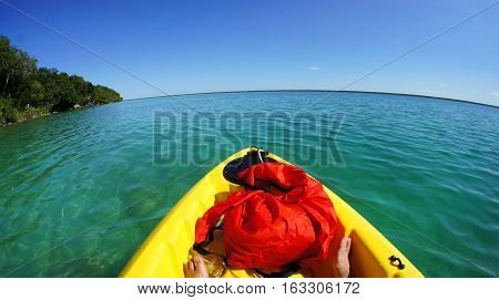 Kayak at lagoon Bacalar, Quintana Roo, Mexico.