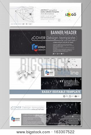 Social media and email headers set, modern banners. Business templates. Easy editable abstract design template, vector layouts in popular sizes. Abstract infographic background in minimalist style made from lines, symbols, charts, diagrams and other eleme