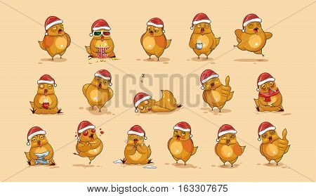 Set Vector Stock Illustrations isolated Emoji character cartoon Hen stickers emoticons with different emotions in the cap of Santa Claus for the greetings Merry Christmas and Happy New Year.