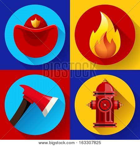 Firefighter elements set collection, including axe, fire flame protective helmet and hydrant vector illustration.
