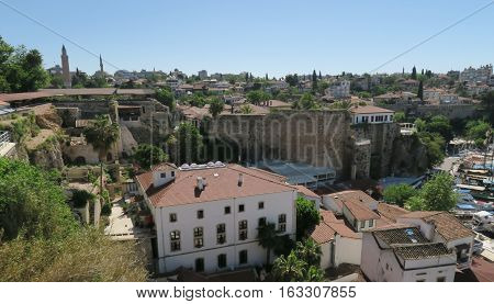 The Restaurants at the City Walls of Antalyas Oldtown Kaleici, near the Harbour in Turkey