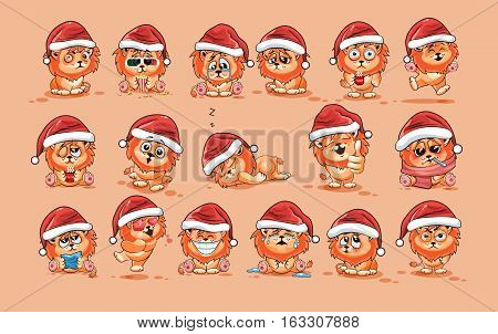 Set Vector Stock Illustrations isolated Emoji character cartoon Lion cub sticker emoticons with different emotions in the cap of Santa Claus for the greetings Merry Christmas and Happy New Year.