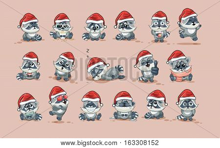 Set Vector Stock Illustrations isolated Emoji character cartoon Raccoon cub sticker emoticons with different emotions in the cap of Santa Claus for the greetings Merry Christmas and Happy New Year.