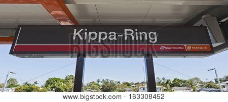 KIPPA RING, AUSTRALIA - December 28, 2016: Name sign of the new Kippa Ring Railway Station on the Redcliffe Peninsula Line Australia