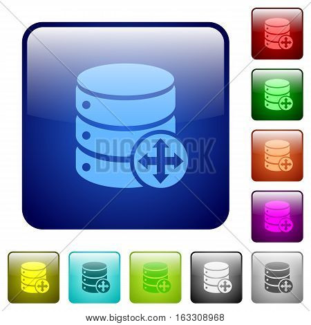 Move database icons in rounded square color glossy button set