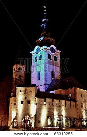Barbican in Banska Bystrica. Middle-age castle in Slovakia. Town fortification. Historical monument with modern restaurant.
