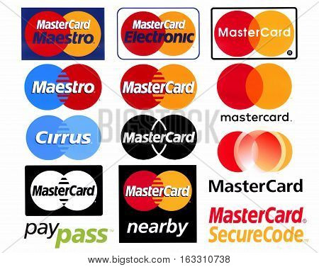 Moscow Russia - 28 December 2016: Different logotypes of payment system Mastercard, printed on white paper