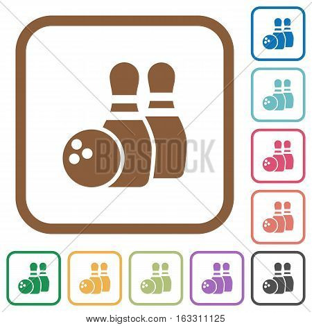 Bowling simple icons in color rounded square frames on white background