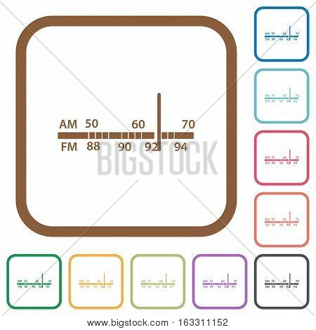 Radio tuner simple icons in color rounded square frames on white background