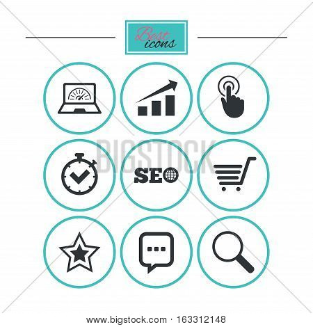 Internet, seo icons. Online shopping, charts and speed signs. Chat messages symbol. Round flat buttons with icons. Vector