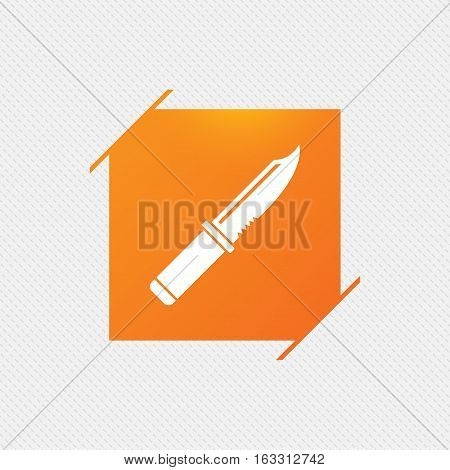 Knife sign icon. Edged weapons symbol. Stab or cut. Hunting equipment. Orange square label on pattern. Vector