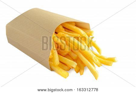 French fries in kraft blank paper box on white background.